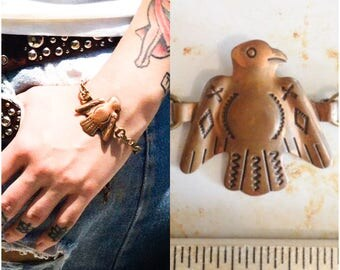 Thunderbird bracelet Copper Vintage 40s 50s Native American Harvey era chain wholesale boho bird hipster Reclaimed Materials Unisex b27
