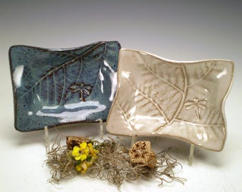 "4 x 5 1/2"" Dragonfly Pottery Dishes, Handmade Stoneware, Dragonfly Ceramic Dishes, Rectangle Pottery Dishes"