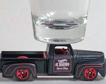 the Original Hot Shot shot glass, '41 Ford F-1 Pick Up, El Segundo Speed Shop, Hot Wheel car