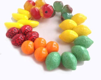 Fruit Only Salad Mix Glass Beads Great for Carmen Miranda 2 of Each Fruit Listed, No Junky Stuff