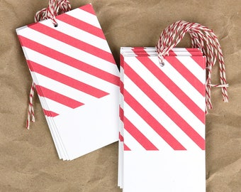 Coral Stripe Gift Tags