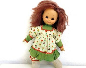 "Vintage 15"" Italian Doll, Cute Big Eyed Cloth Doll, Rubber Face Stuffed Rag Doll Toy, Baby Girl Room Nursery Decor, Made in Italy, Big Hair"