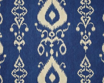 """BLUE IKAT FABRIC - yardage, by the yard, 54"""" wide cotton duck, blue and natural ikat"""
