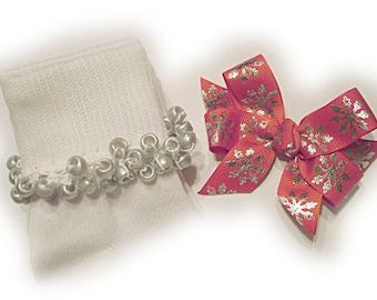 Kathy's Beaded Socks - Red and Silver Snowflakes Socks and hairbow, holiday socks, pony bead socks, silver socks, pearl socks, holiday socks