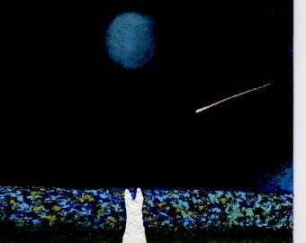 White German Shepherd Dog Ocean Lake Moon Stars original art painting by Todd Young