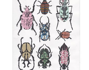 Other Beetles III - Hand-printed Linocut Print of a Collection of Beetles on Various Pattterned Japanese Washi Papers - Natural History