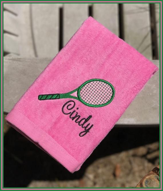 Personalized Sweat Towel: Tennis Towel Embroidered Sweat Towel With Racket Personalized