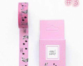 Zebra washi tape, pink washi tape with black and white zebra, happy birthday washi tape, birthday balloons washi tape