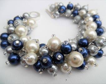 Navy Ivory and Silver Gray Bracelet, Wedding Jewelry, Pearl Bridesmaid Bracelet, Chunky Bracelet, Cluster Bracelet, Navy Bridesmaid Jewelry