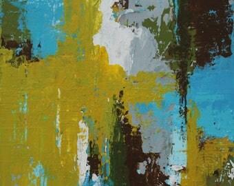 "Original Abstract Painting -- Mud Lick Creek -- 4 x 4"""