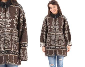 Peruvian WOOL BLANKET Coat 70s White Brown Thick Alpaca Felt Wool Zip Up Jacket Vintage Oversized Native American Southwest XL
