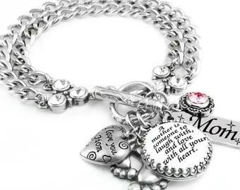 Mother's Birthstone Bracelet, Mother's Jewelry, Mom Bracelet, Personalize Mothers Bracelet, Mother Sayings Jewelry, Mom Birthstone Bracelet