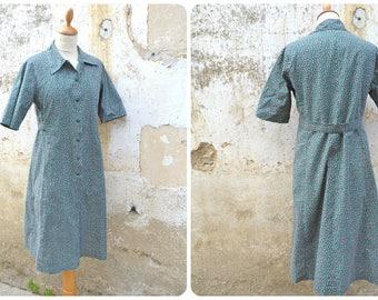 Vintage 1970 /1980s French workwear floral cotton prairie dress  size S/M