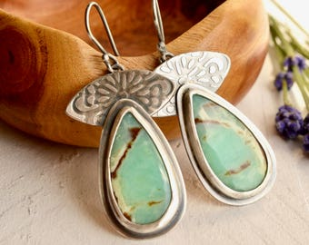 Modern Silver Earrings, Chrysoprase Earrings, Mint Green Stone Earrings, Hand Stamped Metalwork Earrings, Silver
