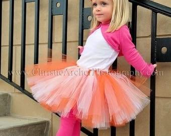 "SUMMER SALE 20% OFF Orange White Tutu - Tangerine Dreams - Custom Sewn tutu - up to 10"" long - sizes up to 5T"