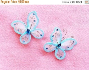 SUMMER SALE 20% OFF Set of 2 Light Blue Butterfly Barrettes - get a pair to match your tutu