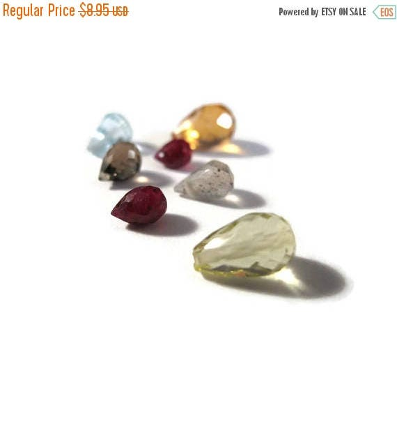 Memorial Day SALE - Briolette Grabs : Mixed Lot of 7 Gemstone Beads for Making Jewelry (B-Mix8e)