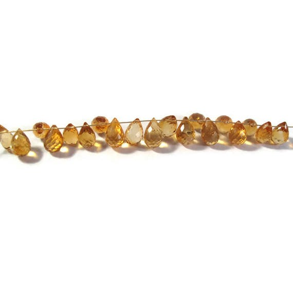 Imperfect Lot - Citrine Beads, Faceted Briolettes, November Birthstone, Gemstones for Jewelry Making, 19 Stones, 9x4mm - 10x6mm (L-Mix11b)