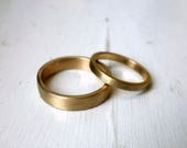 Pair of 14k Yellow Gold Frosted Square Edged Wedding Bands