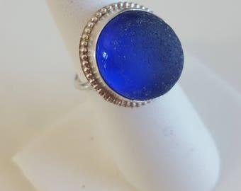 Sea Glass Jewelry Sea Glass Ring Cobalt Blue Sea Glass Ring Gift for Women Christmas Gift  Cobalt Blue Beach Glass Ring Size 7.50 - R-158