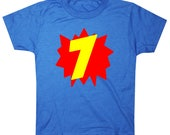Superhero Seventh Birthday Shirt 7th birthday shirt Seven boy birthday shirt girls birthday shirt Superhero 7th Birthday Shirt Boys Birthday
