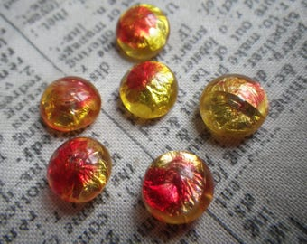 Yellow and Red Vintage Peacock Style Foiled Round Glass 9-10mm 6 Pcs