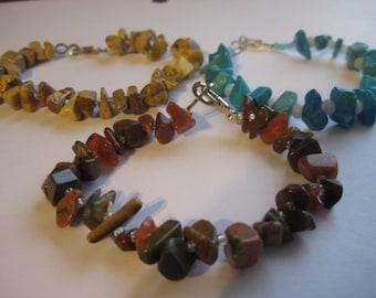 Bracelets, Semi precious gemstone chip bracelets