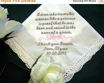 ON SALE Mother of Groom 134S Personalized Wedding Handkerchief custom mom handkerchief