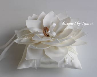 Reserved-Ivory Wedding pillow with Lily flower and embroidering---ring bearer pillow, wedding rings pillow , wedding pillow, ready to ship