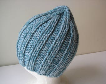 blue hand knit hat blue wool cap