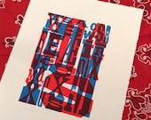 Letterpress WOOD TYPE art print No. 1 Overprinted Hand Pulled Letterpress Print 8x10 red and blue letters alphabets