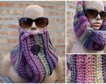 Purple Blend Scarf - Warm Neckwarmer Scarf Purple Button - Cowl - Crochet Scarf