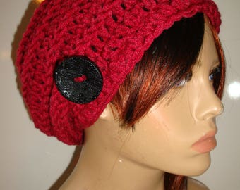 Tomato Red  Slouchy Beanie Hat, Crocheted Slouch Hat, Fall Colors, Knit Slouch Hat, Hat with Button, Warm Hat, Premium Acrylic Yarn, Gift