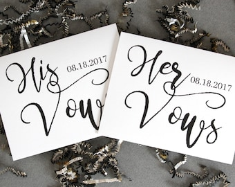 Marriage Vows Card Set, Wedding Vow Card, His Vows, Her Vows, Wedding Promise, Wedding Day Keepsake