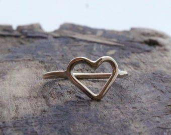 Golden Heart Midi Heart Ring - 14K gold filled heart ring