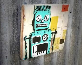 Retro Robot Mixed Media Graffiti Art Painting on Photo Transfer Original Art on Handmade Canvas Home Decor  Vintage Space Toy
