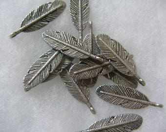 Silver Plated Leaf  12 Feathers per lot Feather Leaf Leaves 30mm
