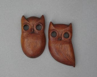 Vintage Wooden Owl Wall Hangings Dated 1960 Carved Wood Owl Pair Mid Century Wall Decor