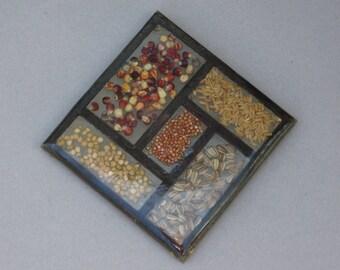 Gamut Designs Seeds & Grains Trivet 1970s Vintage Lucite Resin Acrylic Trivet with Dried Wheat Indian Corn Sunflower Seeds Split Peas etc