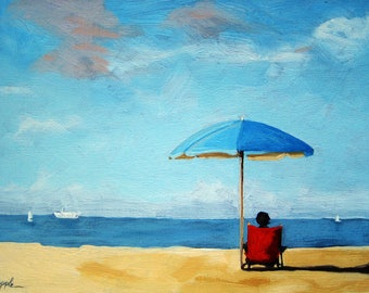 On the Beach - Figurative seascape print from original oil painting