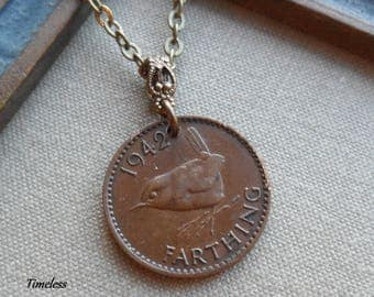 A Wee Little Birdie, 1942 Farthing Vintage Coin Necklace