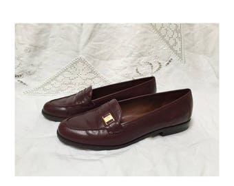 SUMMER SALE Maroon Leather Vintage Loafers - Etienne Aigner Size 7 1/2 W