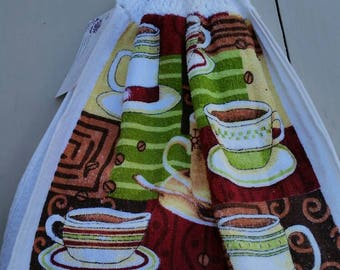 Crocheted Top Kitchen Towel - Coffee Cups