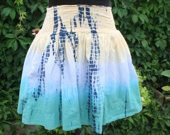 Yellow and blue tie dye short hippie skirt mini small
