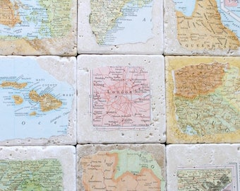 SUMMER SALE Personalized Natural Stone Vintage Map Coasters. You Select Four Locations.