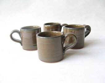 Espresso Cups Set of 4, Demitasse Set, Pottery Espresso Cups