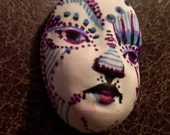 Handmade clay face  mask oval jewelry craft supplies  handmade clown cabochon  face   polymer