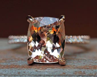 """Solitaire Morganite Engagement Ring - 9x11mm Rectangular Cushion """"Beverly"""" Ring by Laurie Sarah - LS5092"""