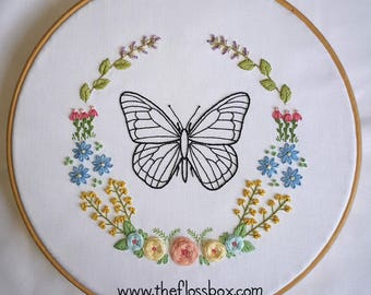 Butterfly Floral Embroidery Pattern