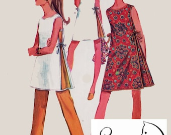 1960s Misses JIFFY Dress with Side Ties and Pants Sewing Pattern Simplicity 8132 60s Mad Men Era Pattern Size 12 Bust 34